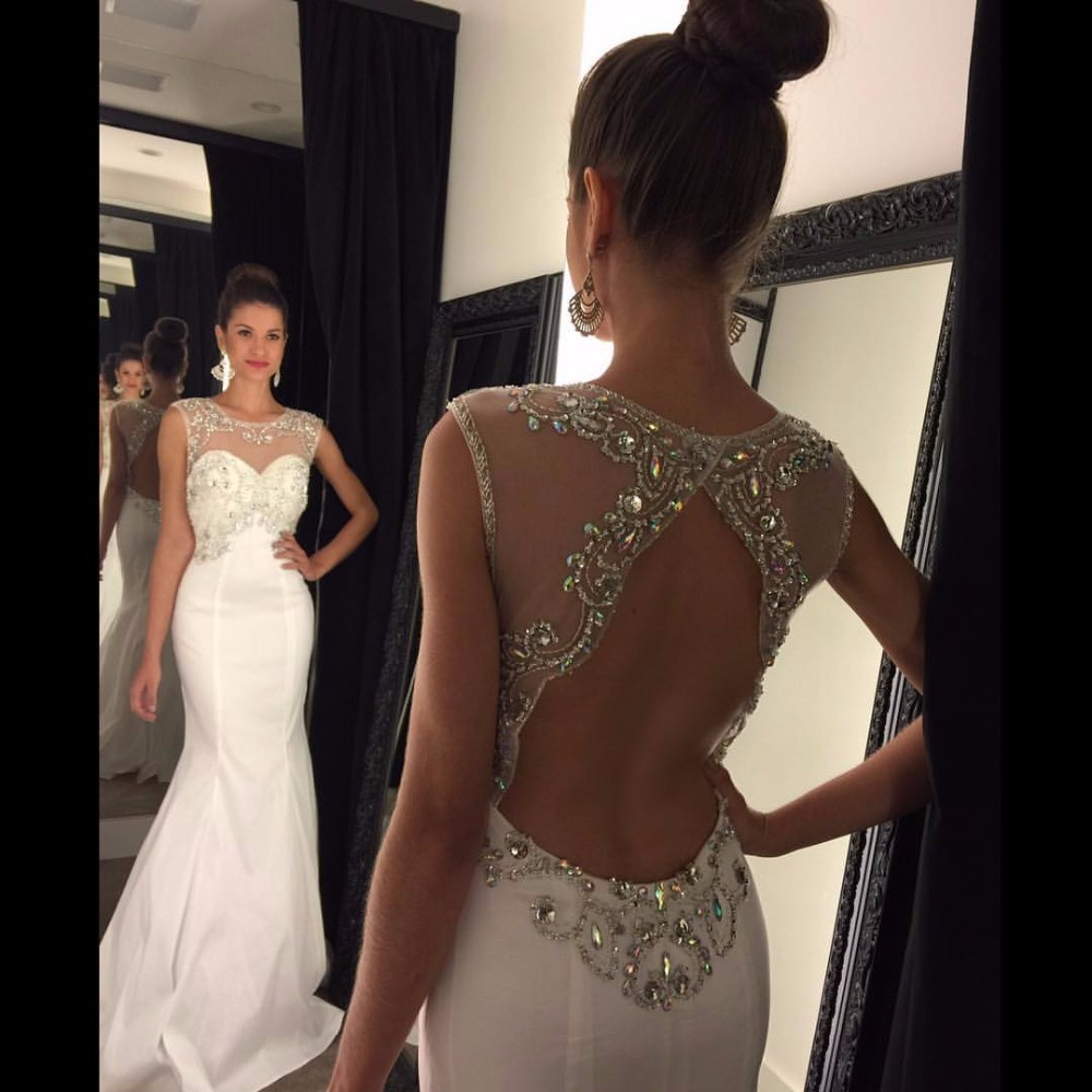 fashion luxury beige prom dress 2017 new o neck backless crystal beaded  mermaid women pageant gown for evening party 951057445d63