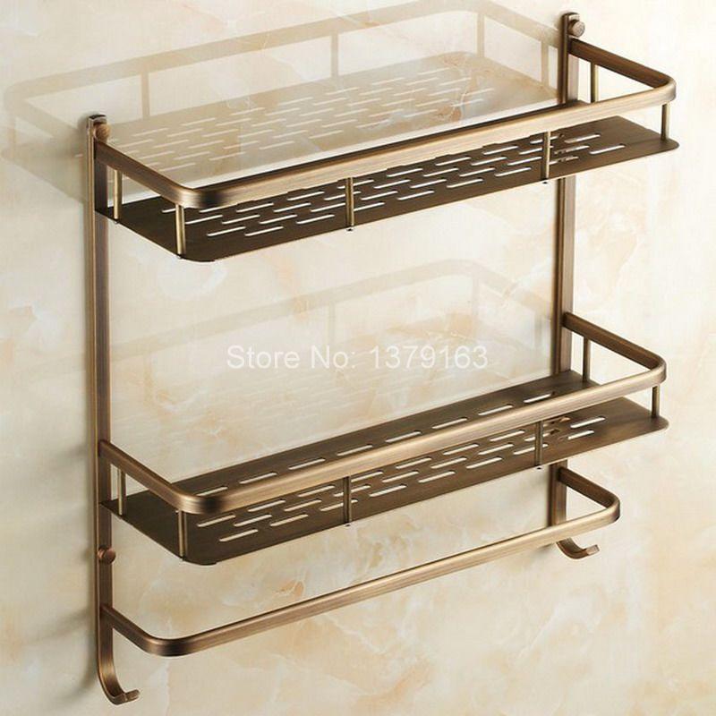 Antique Brass Bathroom Accessory Dual Tier Shower Soap / Sponge Tray ...