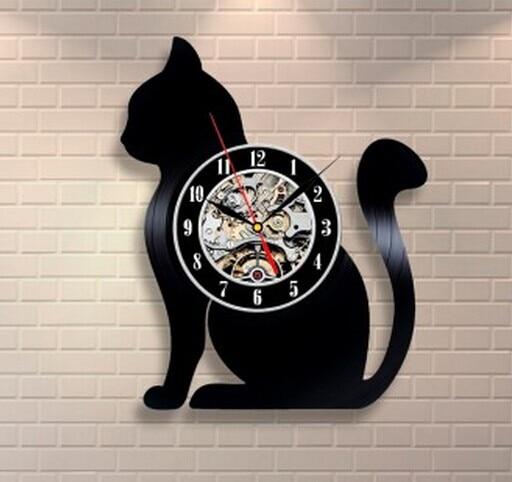2019 New CD Vinyl Record Wall Clock Modern Cat Animal Wall Watch Home Decor Classic Clock Relogio Parede