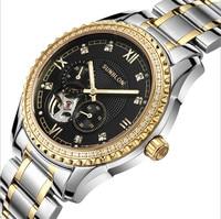 New Fashion SUNBLON Stainless Steel Mechanical Skeleton Watch Silver Movement Retro Dress watch men Gifts zegarki damskie F80
