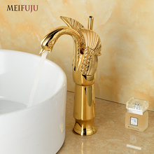 MEIFUJU Luxury Basin faucets Antique Brass Hot and Cold Mixer Taps Swan faucet Gold plated wash basin Height Up Faucet