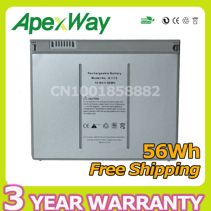 Apexway 56Wh 10.8V laptop battery for apple MacBook Pro 15 A1150 A1260 MA463 MA600 MA895 A1175 MA348 MA348*/A MA348G/A MA348J/A a1175 ma348 original laptop battery for apple macbook pro 15 a1150 a1211 a1226 a1260 ma463 ma464 ma600 ma601