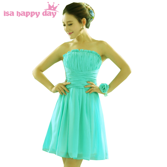 b7735ffc2 Vestido de novia corto azul turquesa verde elegante vestido de cóctel de  fiesta y sexy una línea de gasa rodilla vestidos 2019 H1596 en Vestidos de  cóctel ...