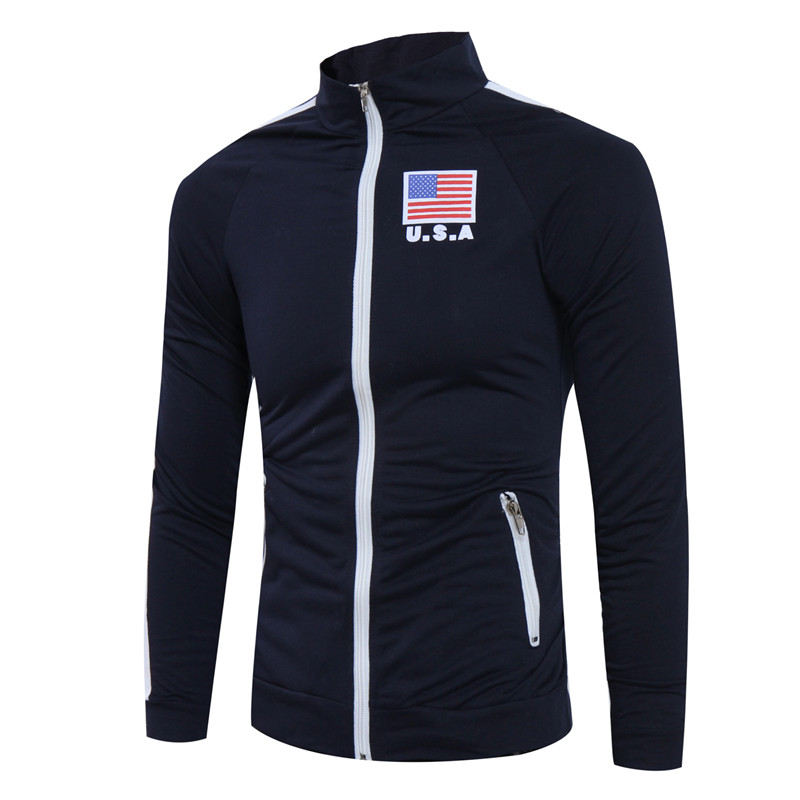 2018 Spring New fashion Slim casual mens Cardigan Standing collar zipper sweater Long sleeve USA American flag printing tops ...