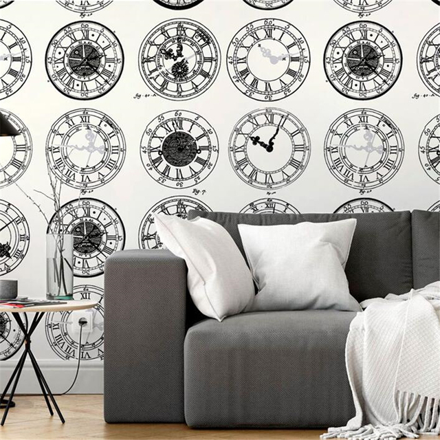 Beibehang New Nordic Style White Wallpaper Modern Minimalist Black And Clock Bar Restaurant Cafe Background