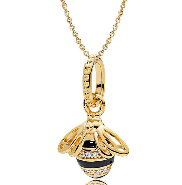 41e1892f42f57 New 925 Sterling Silver Necklace Black Enamel Gold Color Shine Queen Bee  Necklace For Women Wedding Gift Pandora Jewelry