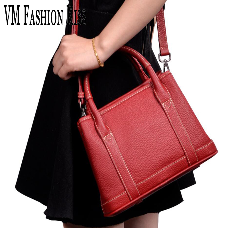 VM FASHION KISS 2018 New Genuine Leather Women Handbags Small Crossbody Bag Ladies Shoulder Bags Red Luxury Handbag Designer ladies genuine leather handbag 2018 luxury handbags women bags designer new leather handbags smile bag shoulder bag