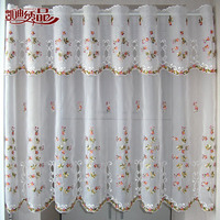 Countryside Half Curtain Luxurious Embroidered Window Valance Wear Tube Lace Hem Coffee Curtain For Kitchen Cabinet
