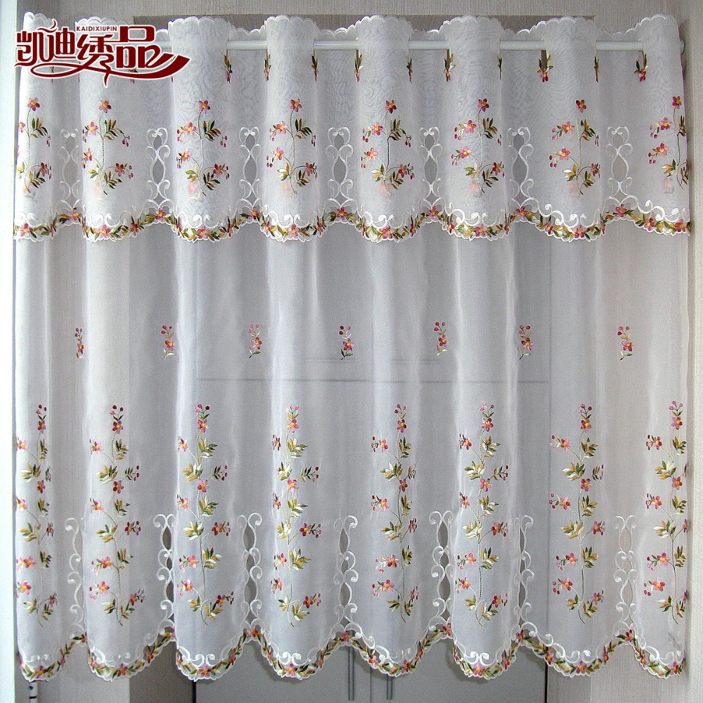 Kitchen Cabinet Curtains: Countryside Half Curtain Luxurious Embroidered Window Valance Wear Tube Lace Hem Coffee Curtain