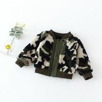 2017 Baby Clothing Velvet Thicken Camouflage Jackets Coat For Boys Children Fall Winter Zipper Long Sleeve