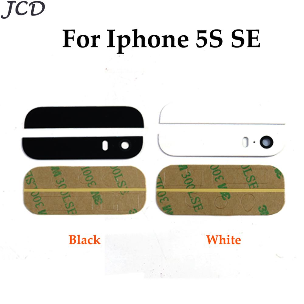 JCD Top Bottom Glass For IPhone 5S Se Back Cover Housing Glass +3M Adhesive Sticker + Camera Lens Diffuser Repair Parts