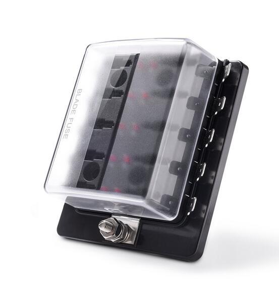 Jtron 6 vie/10 Via Lama Fuse Box Holder con Spia LED per Auto Barca Marine Trike 12 V 24 V