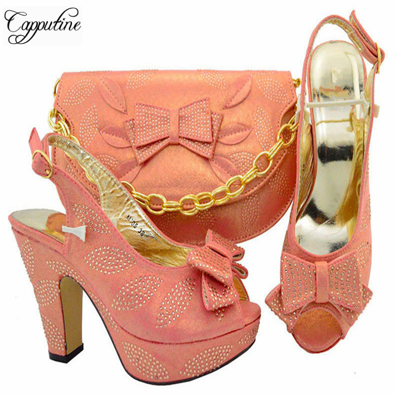 Capputine Italian Design Party Shoes With Matching Bags Set High Quality African Ladies Pumps Shoes And Bag Sets On Stock YM005 g41 wonderful pattern european ladies shoes and bags sets with stone high quality women high heel with bag sets free shipping