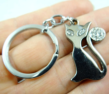 Fashion Creative Key Chain Ring Keyring Silver alloy Cat Pendants Gift Tool Men Car Accessories