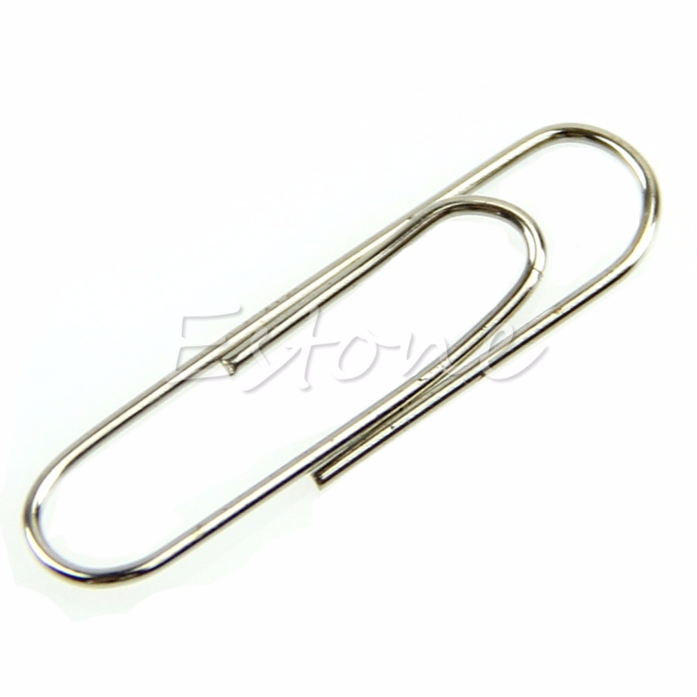 1 Set 100Pcs Office Plain Steel Paper Clips 29mm Paperclips Metal Silver Hot