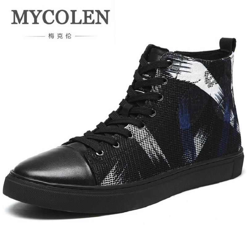 MYCOLEN Brand Mens Shoes Fashion Handmade Basic Boots Canvas Boots Casual Lace-Up Ankle Print Boots High-Top Botte Homme mycolen new fashion high top casual shoes for men leather lace up red white mixed color mens casual shoes chaussure homme cuir