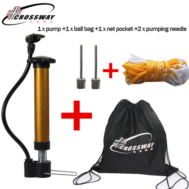 CROSSWAY Brand Basketball Accessories Mini Portable Ball Pump Air Inflating Gas Needle and Net Bag for Basketball Football