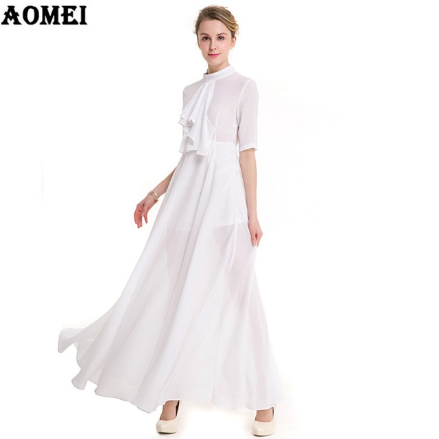 Frau mode boho maxi print floral kleider plus größe weiße lange ...