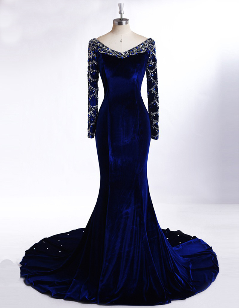 0777f417ed Luxury Design 2016 Royal Blue Long Sleeves Prom Dress Great Design Velvet Mermaid  Evening Dress Arabic Crystal Formal Gowns