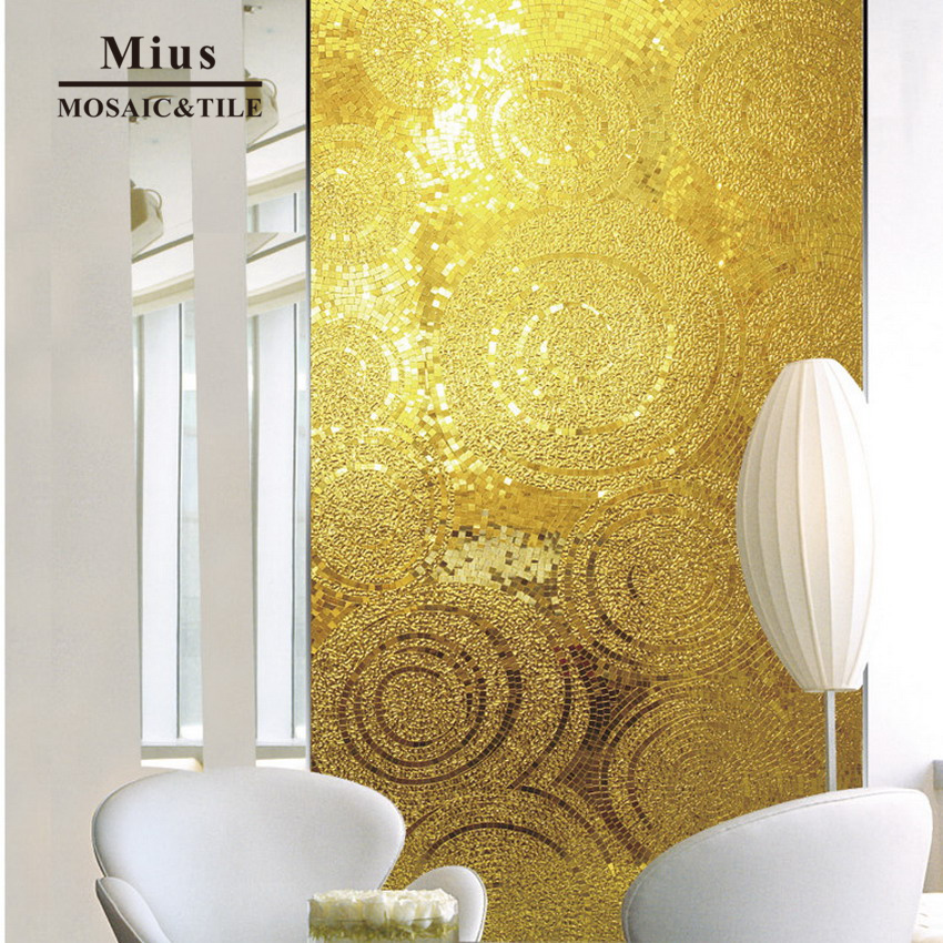 Hot Sale Luxury Gold Glass Mosaic Mural Wall Tile KTV Decoration