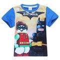 Knowha Lego Batman Movie Одежда Baby Boy Рубашки Подростковая Одежда Моня С Коротким Рукавом Удобная Марка Хлопок Детская Одежда