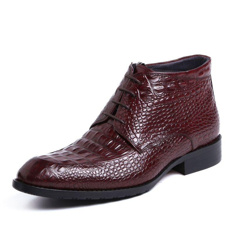 Crocodile Grain wine red / black ankle boots mens dress shoes genuine leather boots man pointed toe formal shoes office shoes