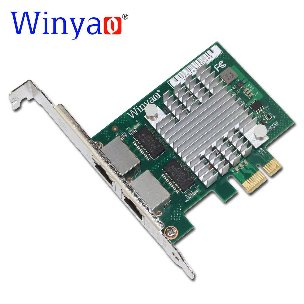Winyao e350t2 pci-e x1 RJ45 рабочего Dual Порты и разъёмы Gigabit Ethernet LAN 10/100/1000 Мбит/с сети Интерфейс карты для i350-t2 NIC