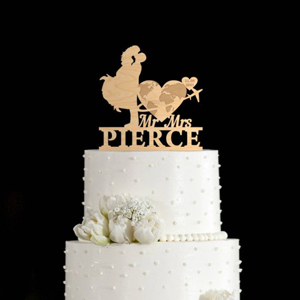 Personalized Travel World Airplane Wedding,Anniversary,Cake Topper Mr and Mrs