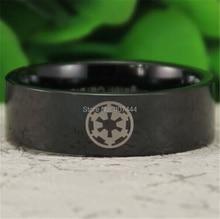 Бесплатная Доставка ЮГК ЮВЕЛИРНЫЕ ИЗДЕЛИЯ Горячие Продаж 8 ММ Черный Труба Star Wars Imperial Empire мужская Комфорт Tungsten Обручальное Кольцо