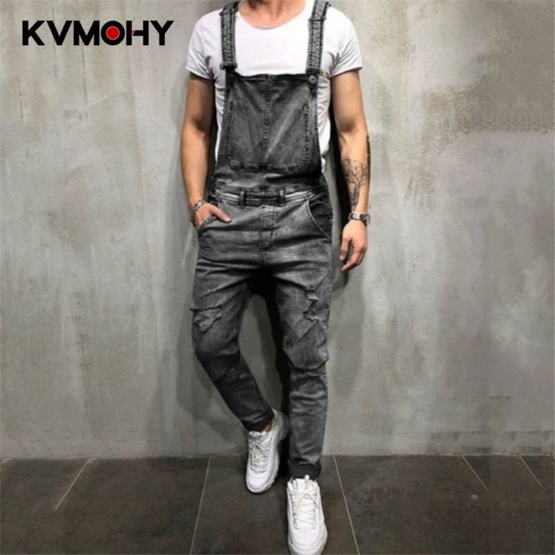 Men's Jeans Blue Slim Snow Washed Denim Bib Overalls Casual Hole Ripped Suspenders Jumpsuits Cargo Torn Pants Biker Jeans