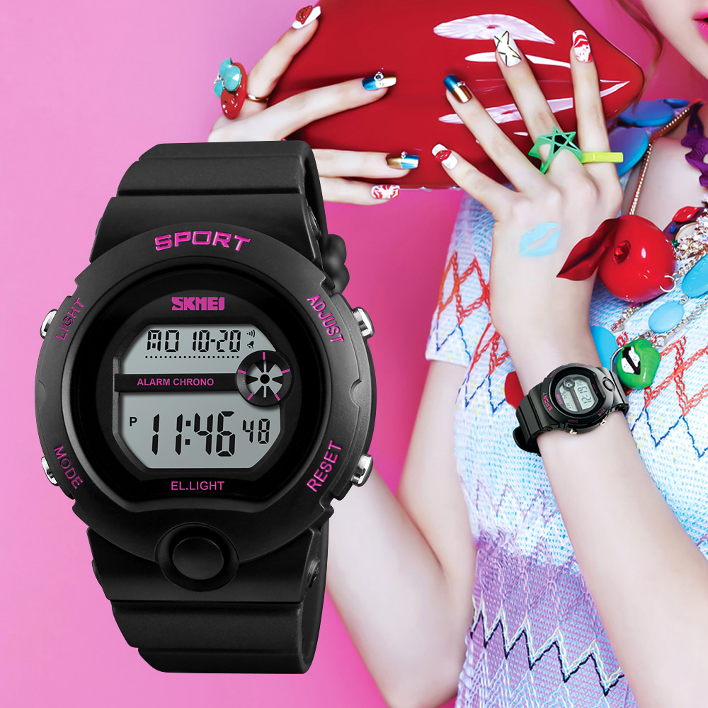 SKMEI Fashion Relogio Feminino Reloj De Mujer Ladies Watch Woman Waterproof Watches Female Alarm Digital Women Wrist Watches