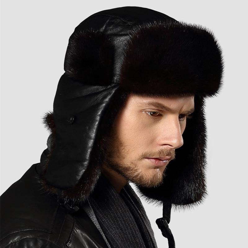 24519530608 2017 Russian Men Real Mink Fur Hats Winter warm Outdoor luxury Caps Natural  Sheepskin Fur Bomber Earmuffs Cap Leifeng Hats H 03-in Bomber Hats from  Apparel ...