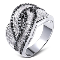 Women Ring White Gold Plated Cubic Zirconia Black And White CZ Rings Lastest Designs Fashion Jewelry