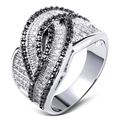 Women Ring White gold plated Cubic zirconia black and white CZ Rings lastest designs fashion jewelry Free shipping