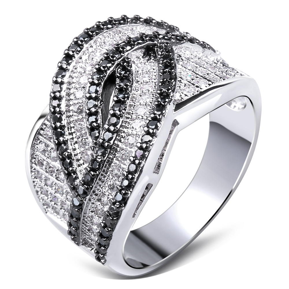Women Ring rhodium plated Cubic zirconia black and white CZ Rings lastest designs fashion jewelry Free shipping
