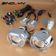 SINOLYN Full Metal Q5 X5 Square LED Angel Eyes HID Bixenon Projector Lens Headlight Headlamps Full Kit Car Styling For Retrofit