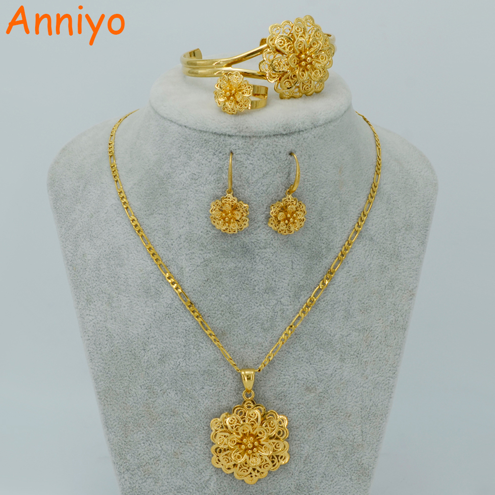 Anniyo Gold Color Flower Jewelry Sets Necklace Earrings