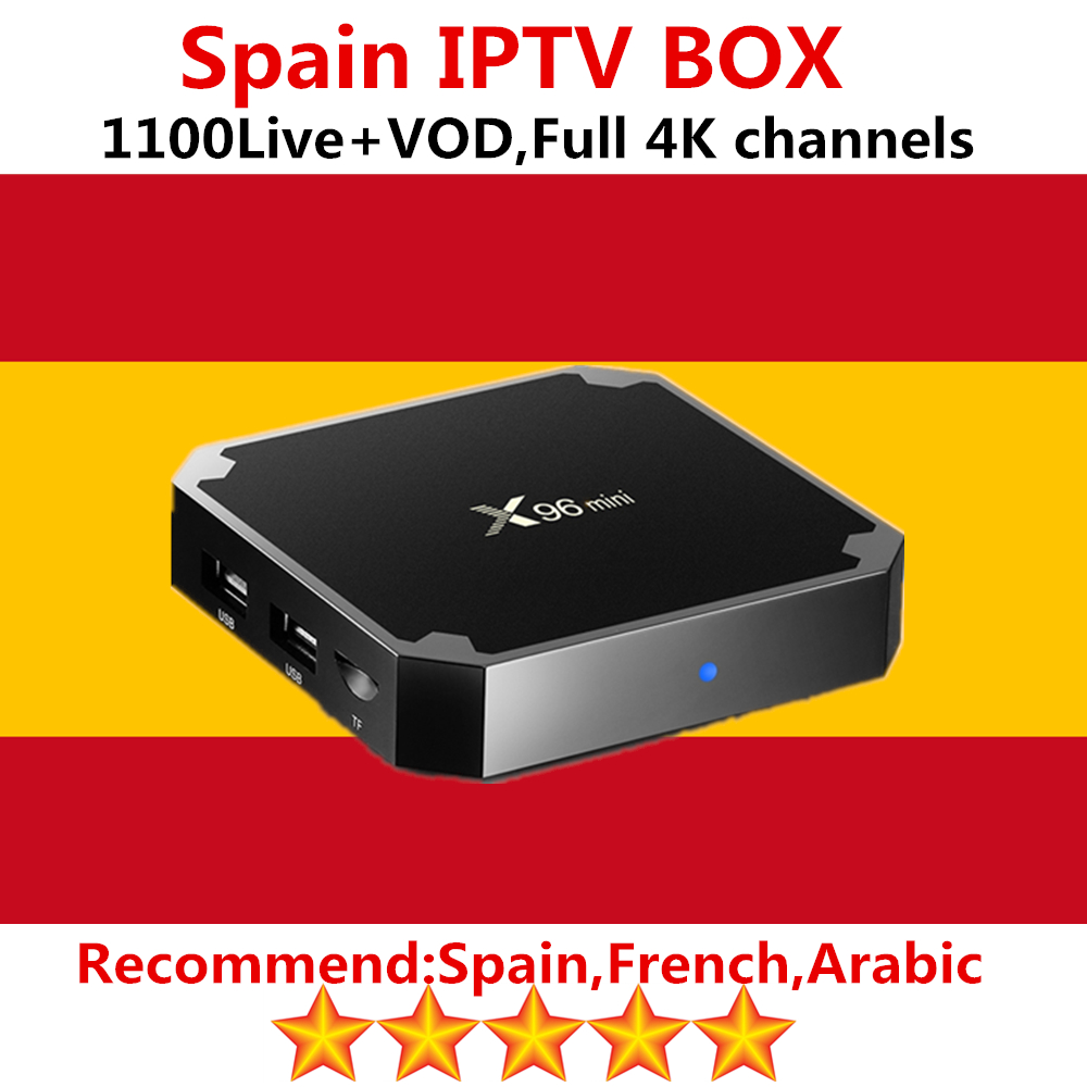 Spain iptv subscription on x96 mini android tv box 7.1 with best Spainish Arabic French iptv 2000 livetv vod smart tv box free