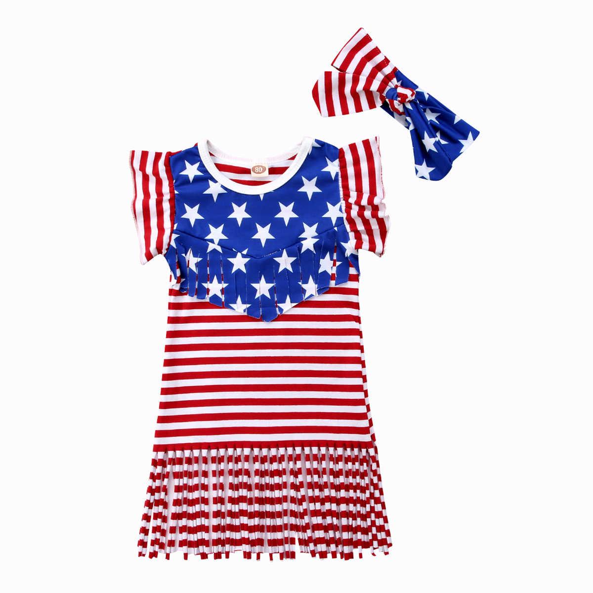 2018 для маленьких девочек День Независимости праздник оголовье платье наряд комплект летней одежды Флаг Кисточкой рябить сладкий Костюмы