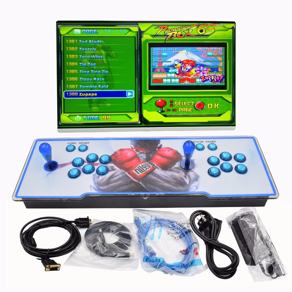 Box 6S built in 1388 in 1 game arcade console machine with light buttons 1/2 players control machine arcade pandora box