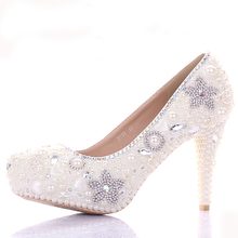 Lovely Women 10cm High Heel Rhinestone Bridal Shoes Gorgeous Ivory Wedding Dress Crystal Banquet Party Prom Shoes