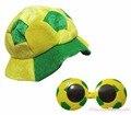 Copa do mundo Brasil camisas de Futebol de Futebol Quente Traje do Partido Chapéu Chapelaria Cap Óculos 2 pc