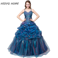 2018 Sleeveless Ball Gown Quinceanera Dresses Spaghetti Strap Prom Gowns Birthday Dresses Appliques Vestidos De 15 Anos