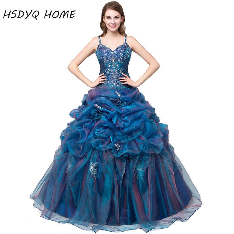 2018 robe De bal sans manches Quinceanera robes Spaghetti sangle robes De bal robes d'anniversaire Appliques Vestidos De 15 Anos