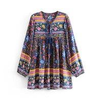 TEELYNN boho blouse 2019 Vinatge purple floral print blouses chic rayon Shirt tassel long Sleeve Gypsy women blouses Loose Blusa