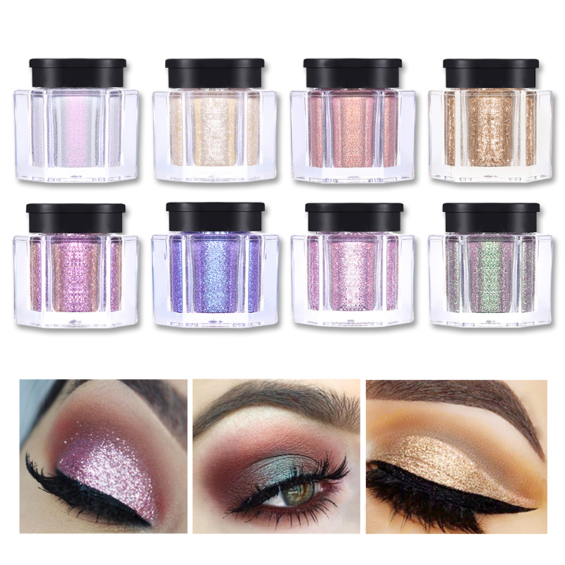 UCANBE 8 Colors Glitter Eye Shadow Loose Powder Diamond Shine Eyeshadow Pigment Sparkle Beauty Holographic Makeup Metallic Nude