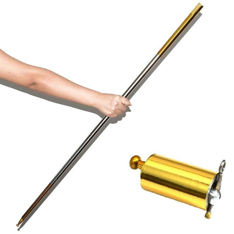 Crazy Cane Metal Magic Close Up Illusion Silk to Wand Pocket Staff Martial Arts Metal Staff 998
