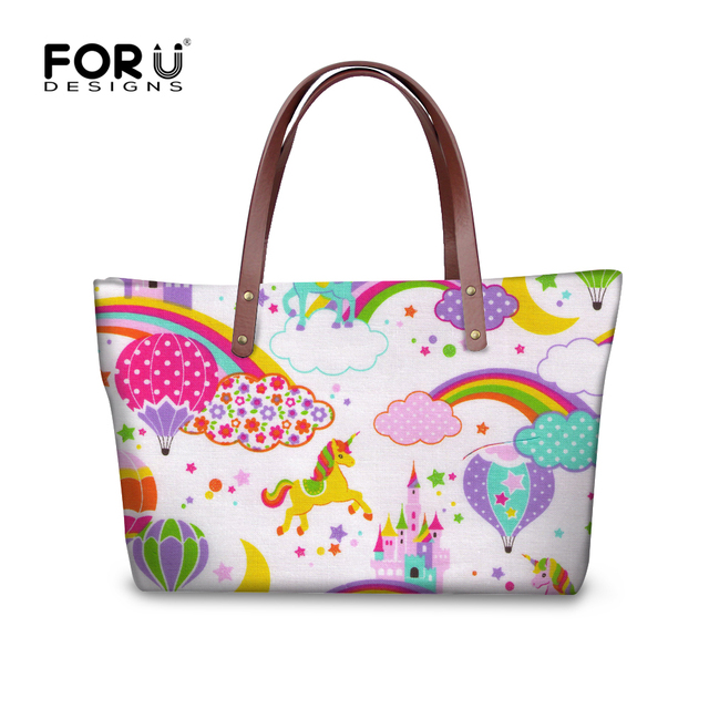 da44bd04fb76 US $25.59 36% OFF|FORUDESIGNS Rainbow Unicorn Women Large Capacity Shoulder  Bags 3D Horse Print Tote Bolsas Fashion Ladies Beach Handbag Wholesale-in  ...