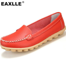 2016 Genuine Leather Wear-resistant Anti-skid Sole Soft Women Casual Shoes 7 Colors Women's Loafers Moccasins Flat Shoes JJ801