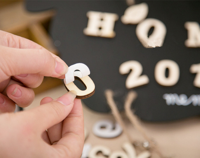 3cm A-Z 0-9 Wooden White English Letters Ornaments Decoration Crafts Wood Love Letter Wedding Decorative Numbers Home Room Hotel 3